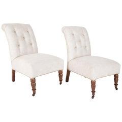 Pair of Regency Style Slipper Chairs in Fermoie Linen