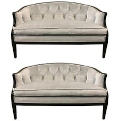 Pair of Regency Style Tufted Back Sofas