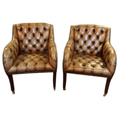 Pair of Regency Style Tufted Leather Club Chairs with Mahogany Legs