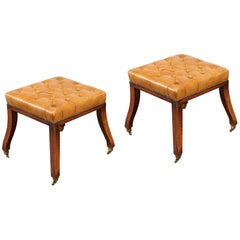 Pair of Regency Style Tufted Leather Stools