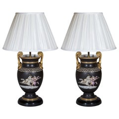 Pair of Regency Style Vase Lamps in Black and Gold with Greek Key Ornaments