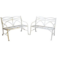 Pair of Regency Style White Painted Metal Garden Benches