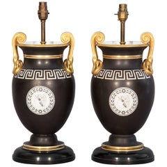 Pair of Regency Table Lamps, Black and Gold Greek Key