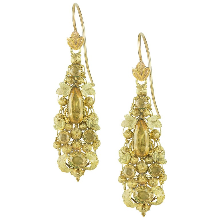 Pair of Regency Yellow Gold and Topaz Cannetille Earrings For Sale