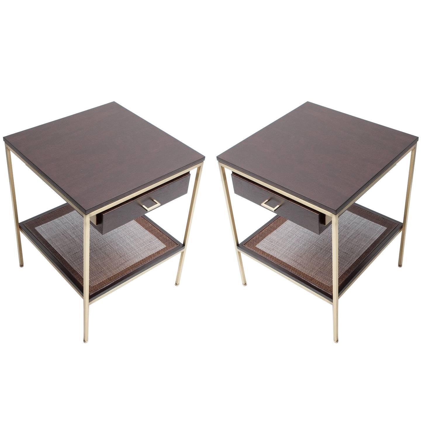 Pair of reGeneration Custom Ebony and Caned Bedside Tables