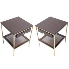 Pair of reGeneration Custom Ebony and Caned Bedside Tables