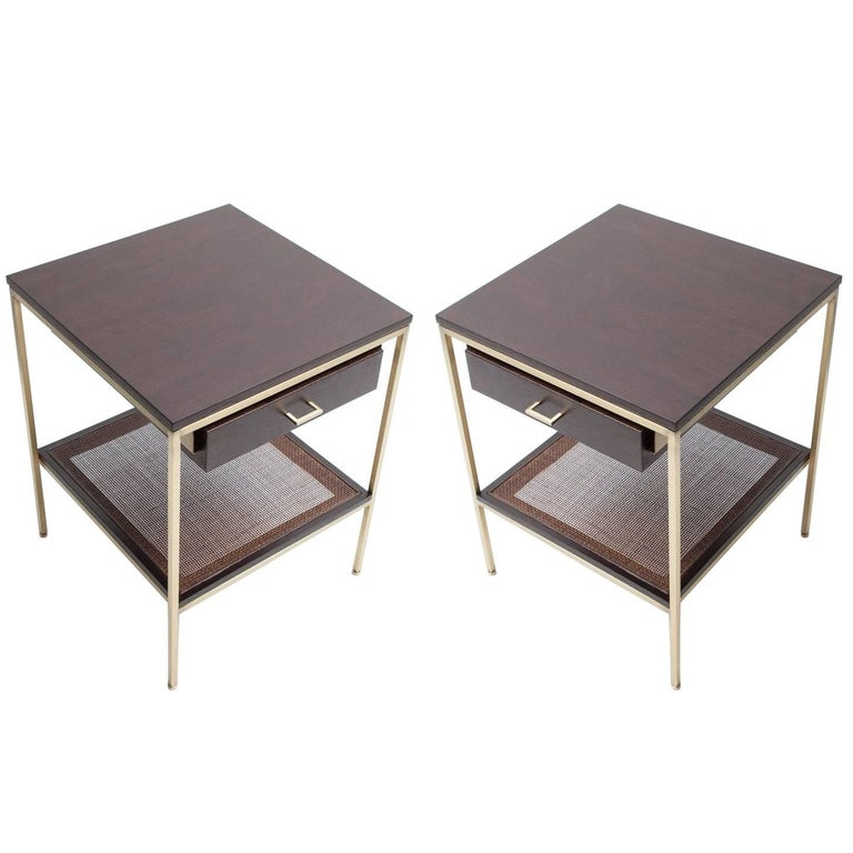 Pair of reGeneration Custom Ebony and Caned Bedside Tables For Sale