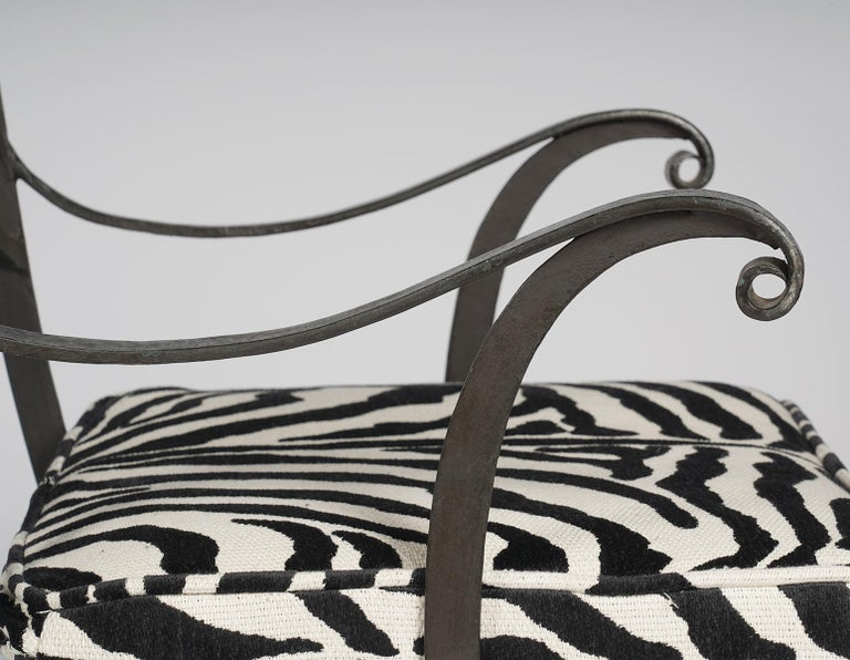 American Pair of Regency Style Painted Iron Armchairs and Zebra Pattern Cushions, 20th C For Sale