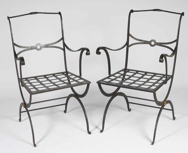 Pair of Regency Style Painted Iron Armchairs and Zebra Pattern Cushions, 20th C In Good Condition For Sale In Ft. Lauderdale, FL