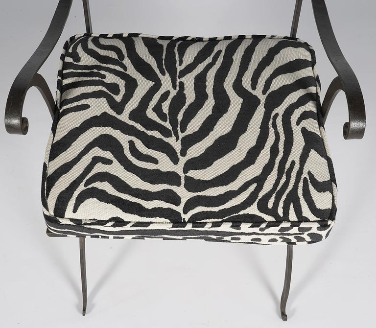 Fabric Pair of Regency Style Painted Iron Armchairs and Zebra Pattern Cushions, 20th C For Sale