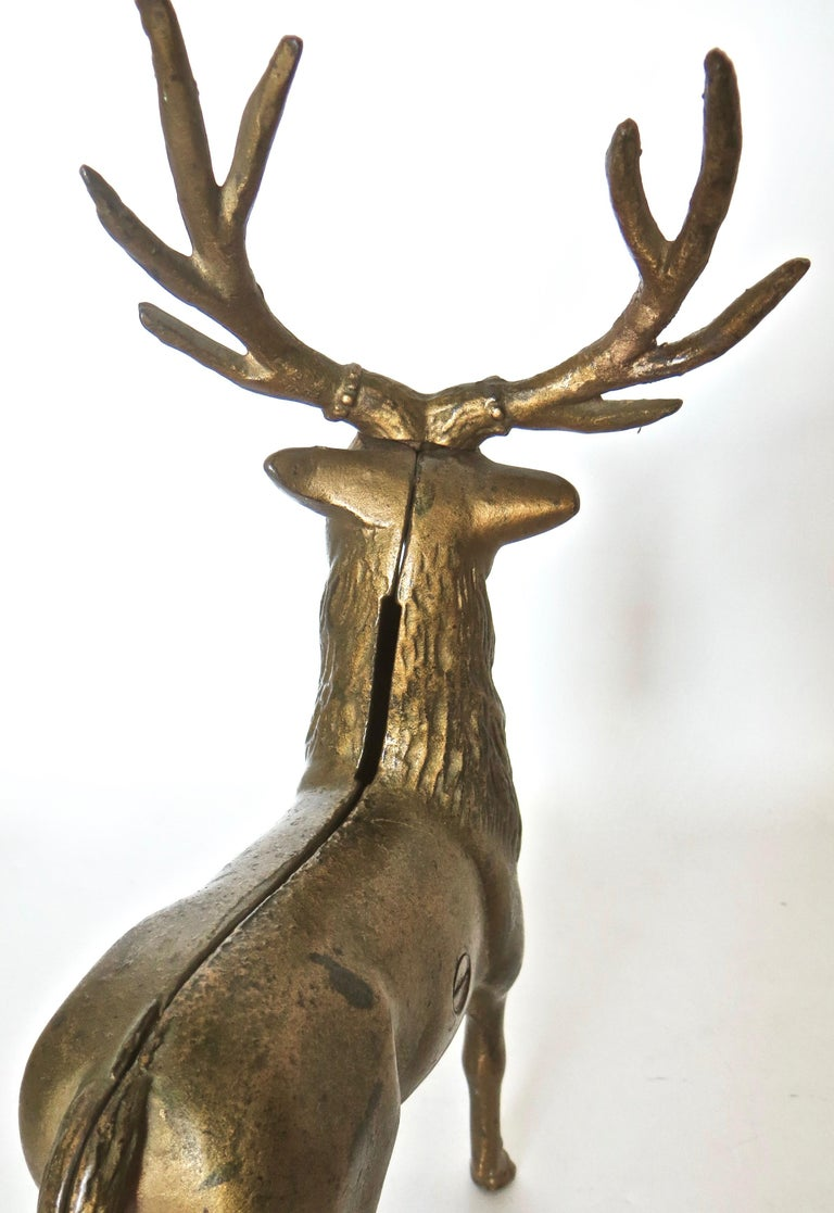 Pair of Reindeer Antique Still Banks, American, circa 1910 For Sale 3