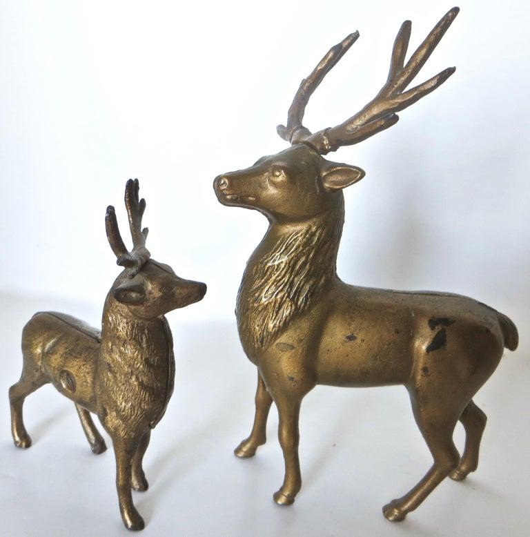 Folk Art Pair of Reindeer Antique Still Banks, American, circa 1910 For Sale