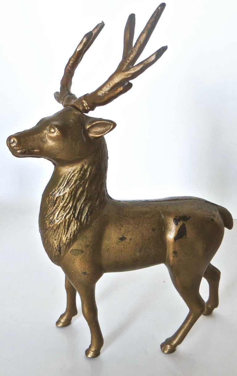Cast Pair of Reindeer Antique Still Banks, American, circa 1910 For Sale