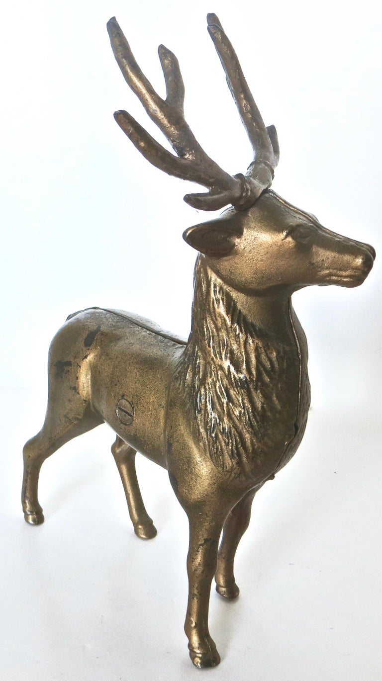 Pair of Reindeer Antique Still Banks, American, circa 1910 In Good Condition For Sale In Incline Village, NV
