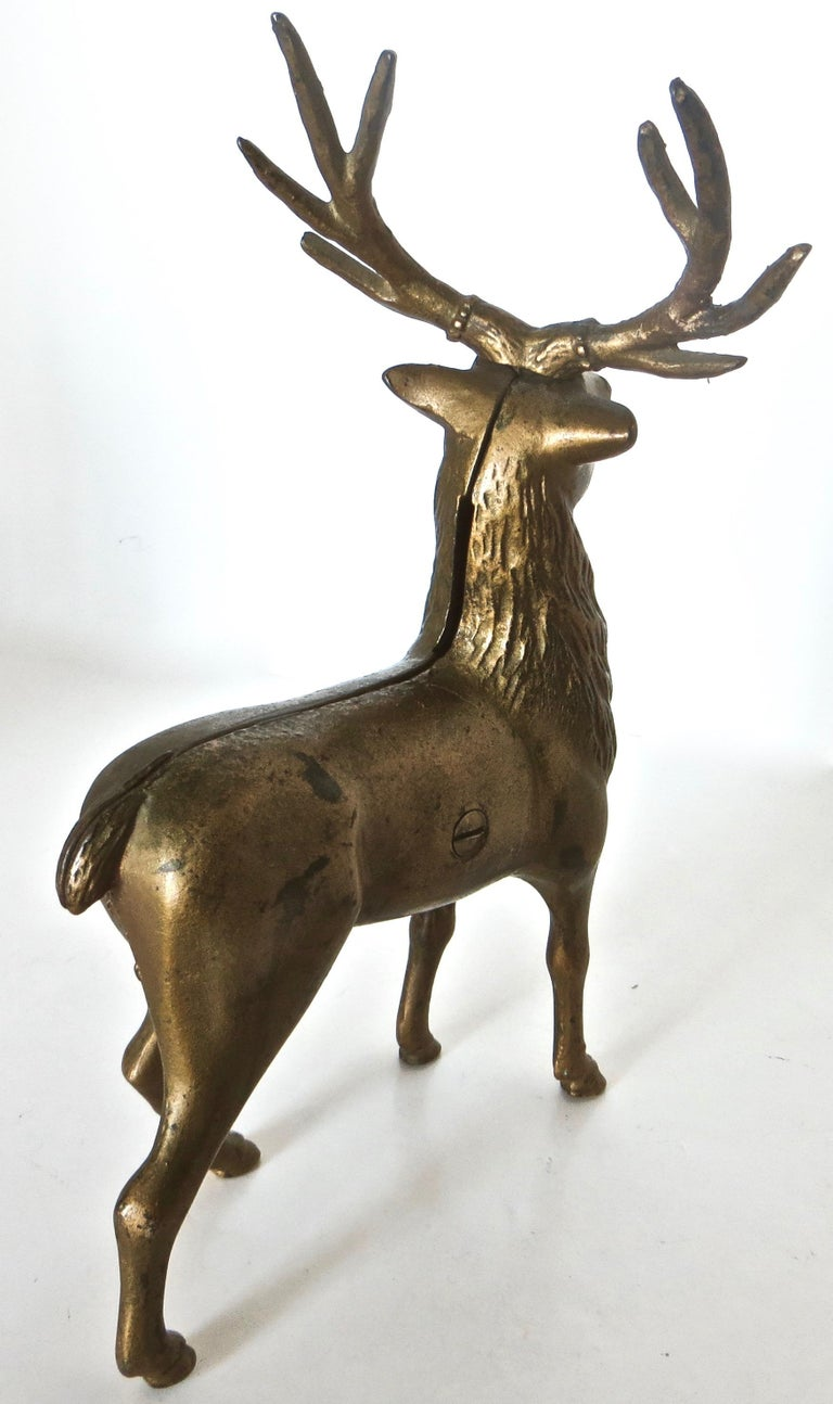 Early 20th Century Pair of Reindeer Antique Still Banks, American, circa 1910 For Sale