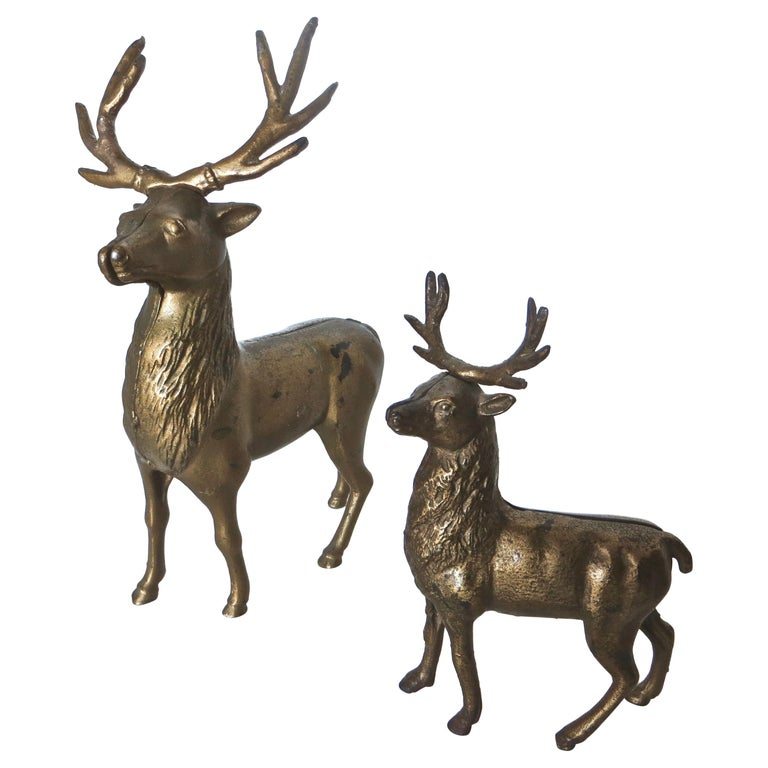 Pair of Reindeer Antique Still Banks, American, circa 1910 For Sale