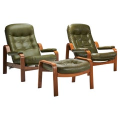 "Pair of ""Relax II"" Chairs and a Foot Stool by Göte Möbler Nassjö AB, Sweden 1970"