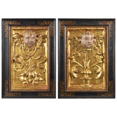 Pair of Reliefs, Grotesque or Candelieri, Wood, 16th Century