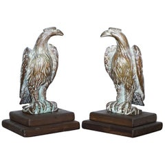 Pair of Religious Bronze Staff Finial Mounts of Hawks, Mounted Two Step Base