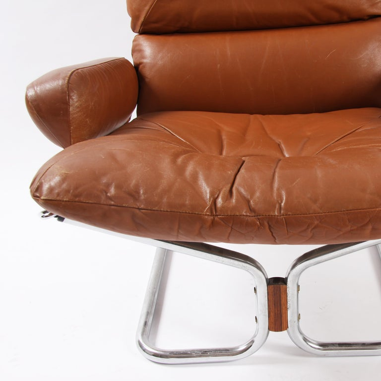 Gorgeous pair of chrome and leather chairs, designed by Igmar Rellings in the 1970s and made in Norway.