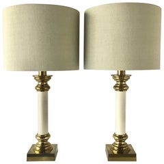 Pair of Rembrandt Brass and Faux Snakeskin Table Lamps, 1960s