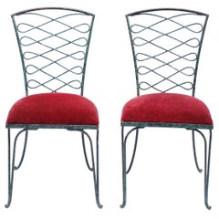 Pair of René Prou Verdigris Iron Chairs
