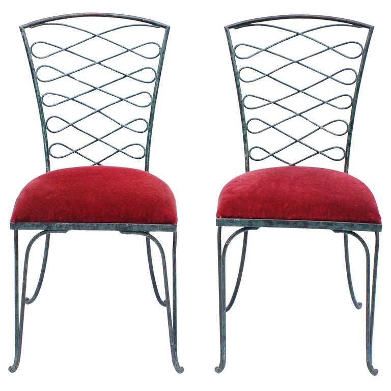 Pair of René Prou Verdigris Iron Chairs