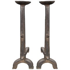 Pair of Renaissance Period French 17th Century Cast Iron Andirons