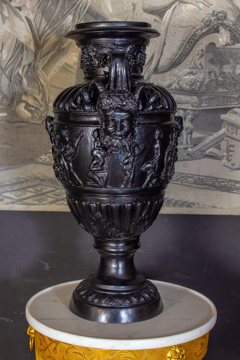 Mid-20th Century Pair of Renaissance Revival Bronze Black Painted Vases For Sale