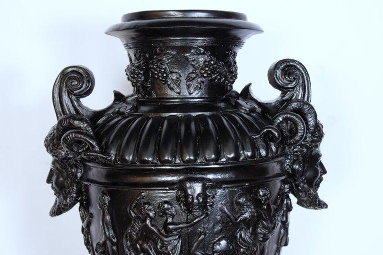 Pair of Renaissance Revival Bronze Black Painted Vases For Sale 2