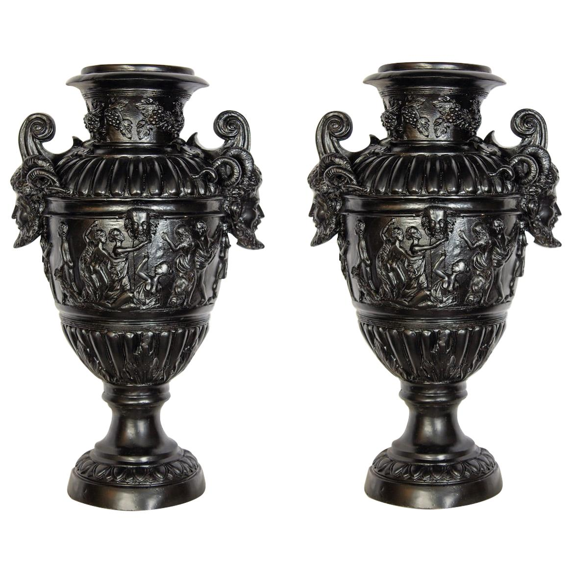 Pair of Renaissance Revival Bronze Black Painted Vases