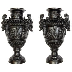 Pair of Renaissance Revival Bronze Black Painted Vases