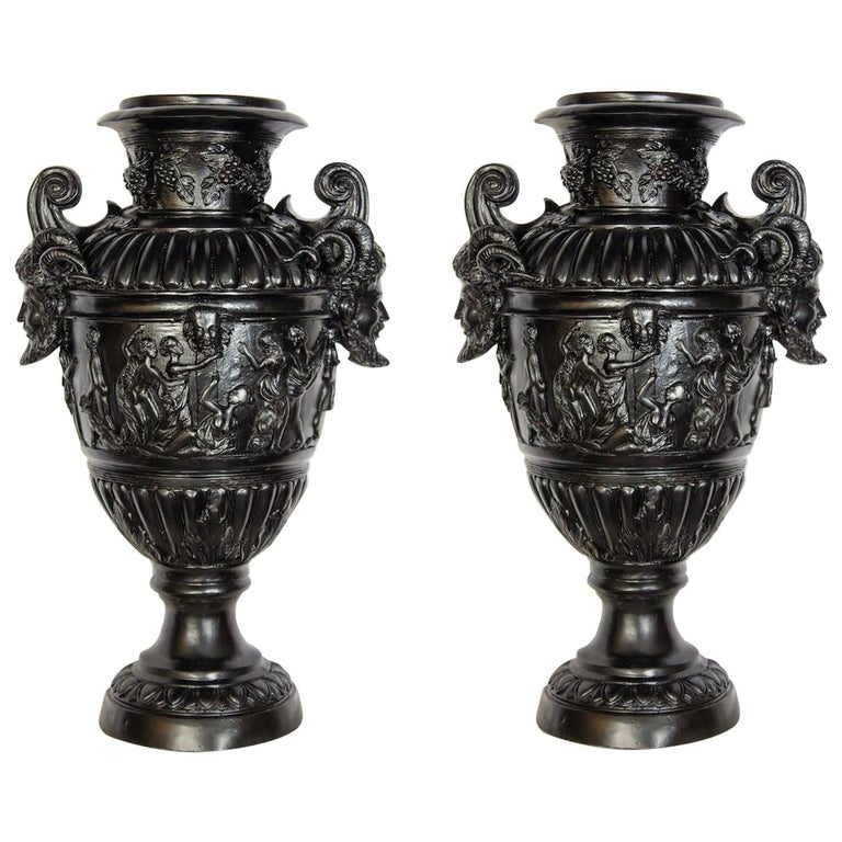Pair of Renaissance Revival Bronze Black Painted Vases For Sale