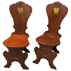 Pair of Renaissance Sgabello Mahogany Hall Chairs