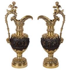 Pair of Renaissance Style Bronze Ewers, circa 1880