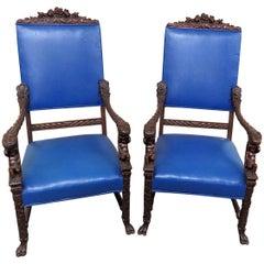 Pair of Renaissance Style Cherub Putti Throne Chairs Attributed to Horner