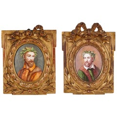 Pair of Renaissance Style Enamel Plaques in Giltwood Frames