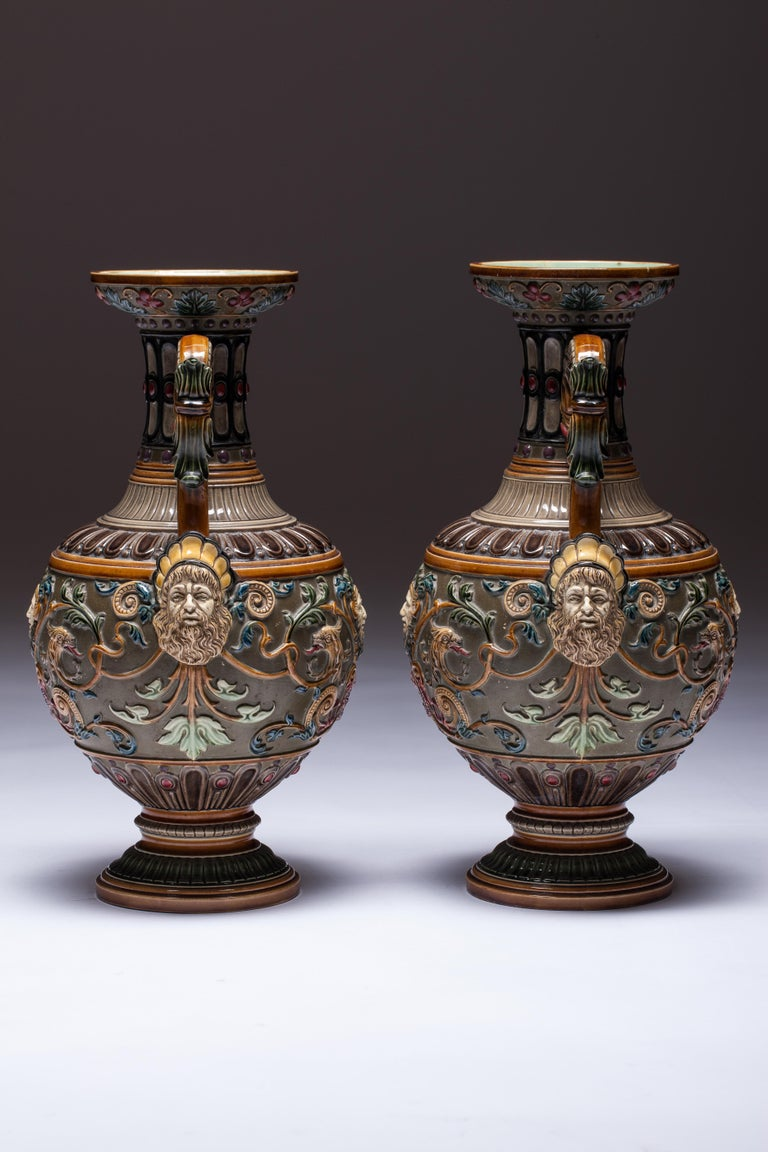 Pair of Renaissance-Style Majolica England Vases For Sale 3