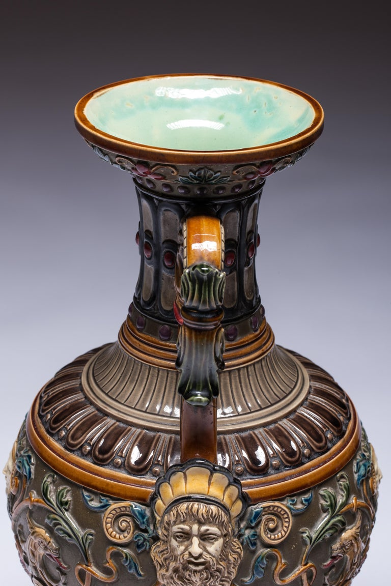 Pair of Renaissance-Style Majolica England Vases For Sale 5
