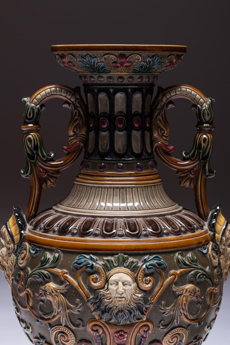 Renaissance Revival Pair of Renaissance-Style Majolica England Vases For Sale
