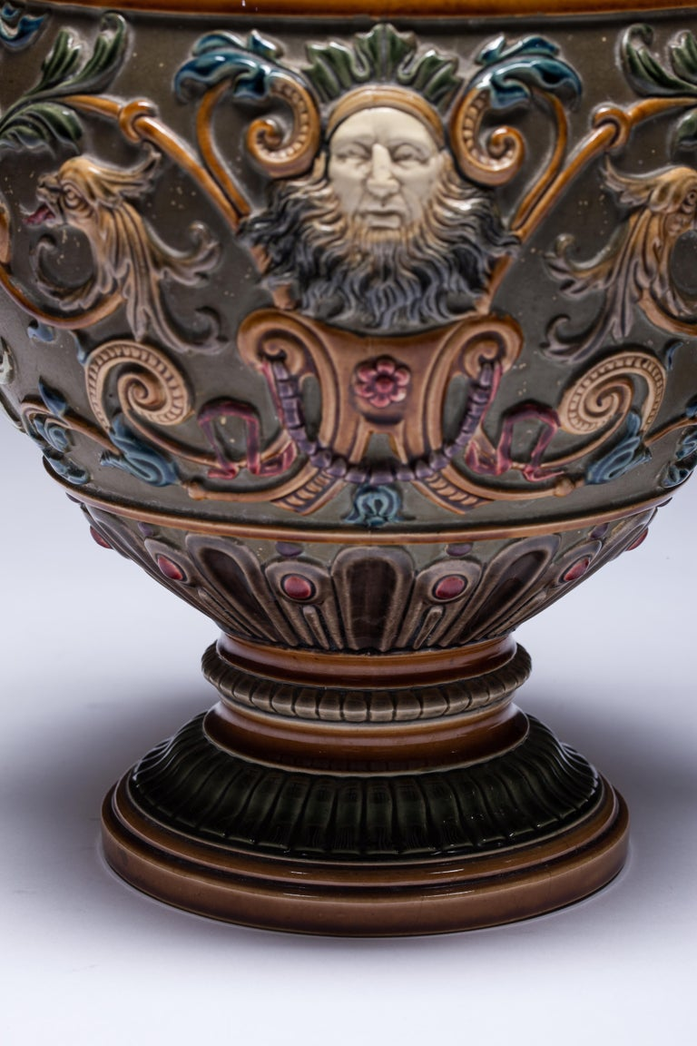 Carved Pair of Renaissance-Style Majolica England Vases For Sale