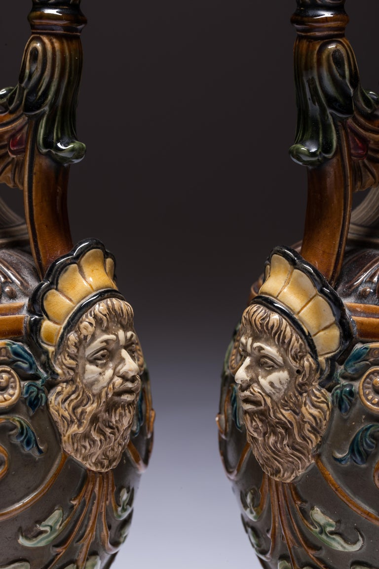 Pair of Renaissance-Style Majolica England Vases For Sale 2