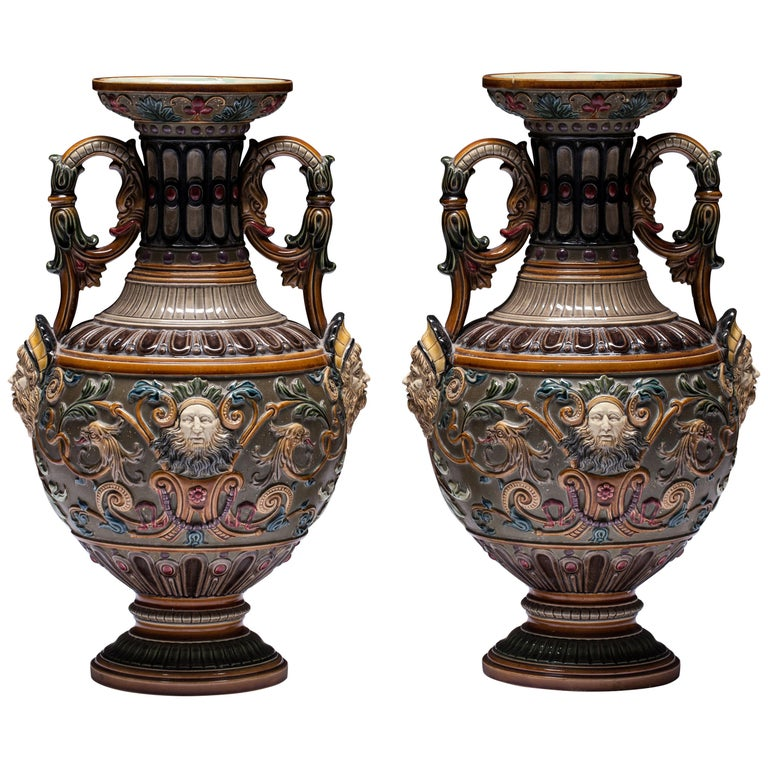 Pair of Renaissance-Style Majolica England Vases For Sale