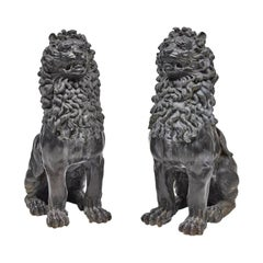 Pair of Renaissance Style Patinated Bronze Guardian Lions