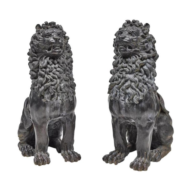 Pair of Renaissance Style Patinated Bronze Guardian Lions For Sale