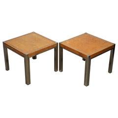 Pair of Renato Zevi 1923-1996 Maple & Brass Jeroen Markies Side End Lamp Tables