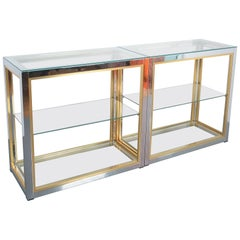 Pair of Renato Zevi Étagères Shelving Console Chrome and Brass Glass