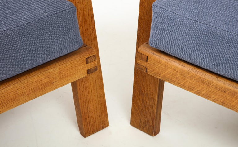 Pair of René Gabriel Oak Armchairs Upholstered in Blue Linen For Sale 7