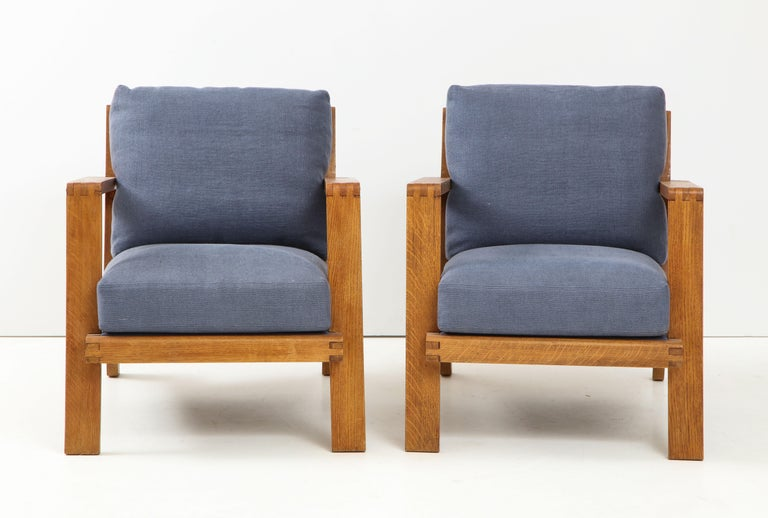 French Pair of René Gabriel Oak Armchairs Upholstered in Blue Linen For Sale