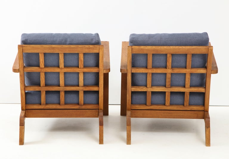Pair of René Gabriel Oak Armchairs Upholstered in Blue Linen For Sale 1